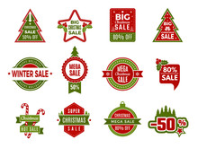 Winter Holiday Sales. Christmas Badges Or Labels Retail Discount Deals Holidays Special Offers Of New Year Vector Template. Christmas Discount Badge, Sale Offer To Holiday Xmas Illustration