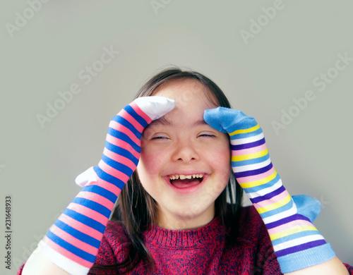 Photo  Beautiful girl have fun with socks