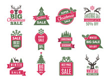 Christmas Sale Tags Badges. Ho...