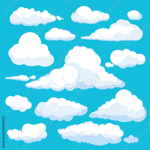 Obraz Fluffy cartoon clouds. Shine sky weather illustration panorama clean vector set isolated. Cloudscape and cloud nature fluffy in air - fototapety do salonu