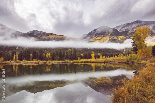 Aluminium Prints Dark grey Autumn lake