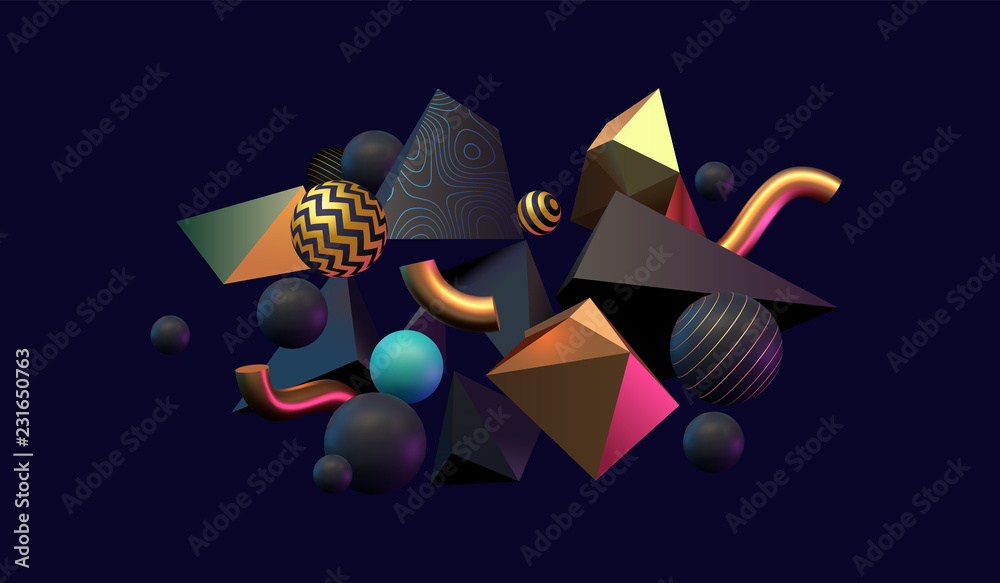 3d Abstract Black Gold And Teal Colored Geometric Shapes