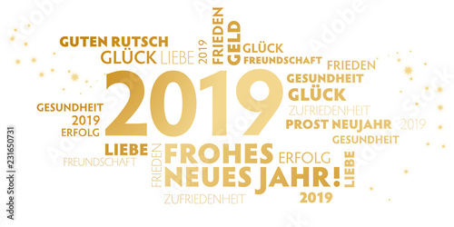 Fotografia  2019 Neujahrsgruss weiß und gold mit guten wünschen für das neue Jahr