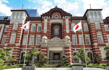 Fototapeta Scene of Japanese Tokyo Station of the day of the blue sky which it was fine