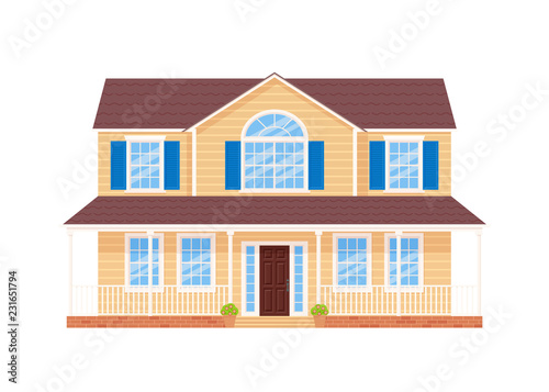 House Exterior Vector Home Facade Building With Door Roof Porch Windows In Flat Design Modern Residential Cottage Townhouse Front Apartment Isolated On White Background Cartoon Illustration Buy This Stock Vector And