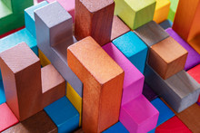 Geometric Shapes On A Wooden Background, Close-up.