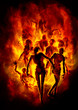 canvas print picture - Burning zombies/ Illustration a crowd of zombies in fire
