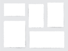 Blank White Torn Paper Pieces