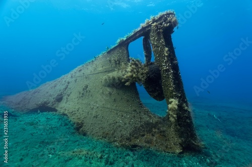 Archilleas Wreck, rear, Propeller, Paphos, Mediterranean Sea, Southern Cyprus, Cyprus, Europe