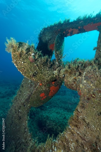 Archilleas wreck, rear, propeller, Paphos, Mediterranean Sea, Southern Cyprus, Cyprus, Europe