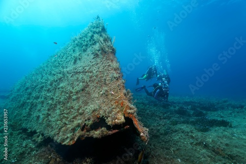 Divers diving at Archilleas Wreck, Paphos, Mediterranean Sea, Southern Cyprus, Cyprus, Europe