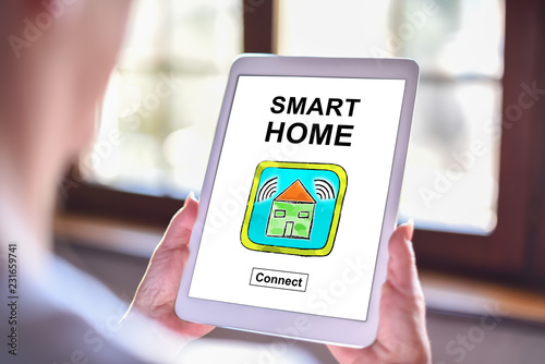 Fototapety, obrazy: Smart home concept on a tablet