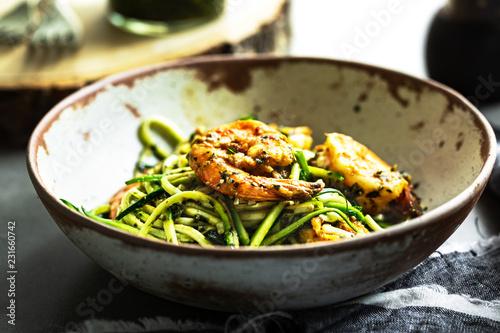 Zucchini pasta with Prawns in Basil Pesto sauce