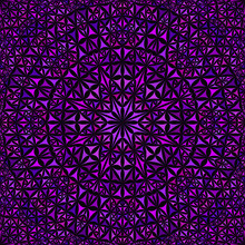 Purple Abstract Repeating Curved Triangle Mosaic Kaleidoscope Mandala Pattern Wallpaper - Ethnic Vector Background Graphic Design