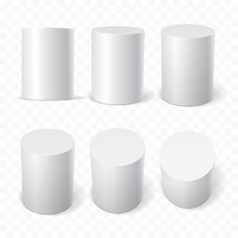 Set Of White Cylinders In Vari...