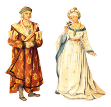German Nobleman And Noblewoman (Renaissance) / Vintage Illustration From Meyers Konversations-Lexikon 1897