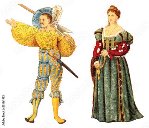 Fotografia Landsknecht and venetian noblewoman (Renaissance) / vintage illustration from Me