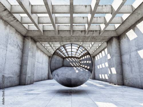 Modern concrete hall