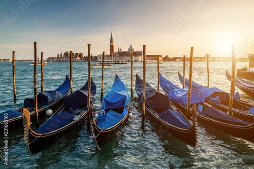 Foto op Plexiglas Venetie Venice gondolas on San Marco square, Venice, Italy.