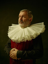 Official Portrait Of Historical Governor From The Golden Age With Corrugated Round Collar. Studio Shot Against Dark Wall.