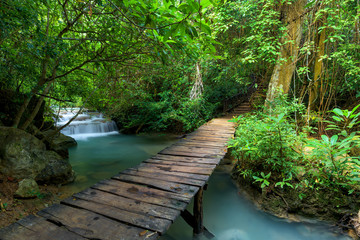 Wooden walkway and waterfal...