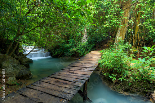 Wooden walkway and waterfal...