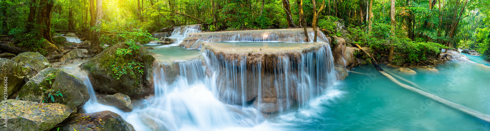 Fototapeta Panoramic beautiful deep forest waterfall in Thailand