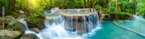 Obraz Panoramic beautiful deep forest waterfall in Thailand - fototapety do salonu