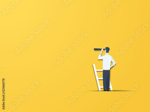 Business vision vector concept with businessman on a ladder with telescope. Modern paper cutout style. Symbol of business visionary, leader, leadership concept, ambition and motivation.