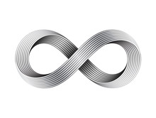 Infinity Sign Made Of Metal Cables. Mobius Strip Symbol. Vector Illustration.