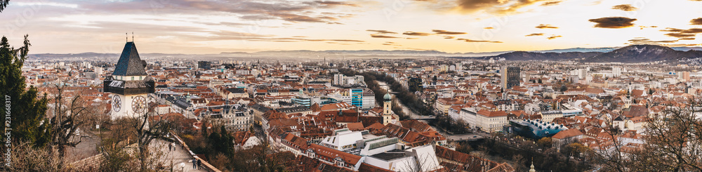 Fototapety, obrazy: Graz panorama as seen from the Schlossberg park hill