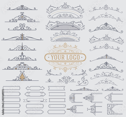 Kit of Vintage Elements for Invitations, Banners, Posters Wall mural