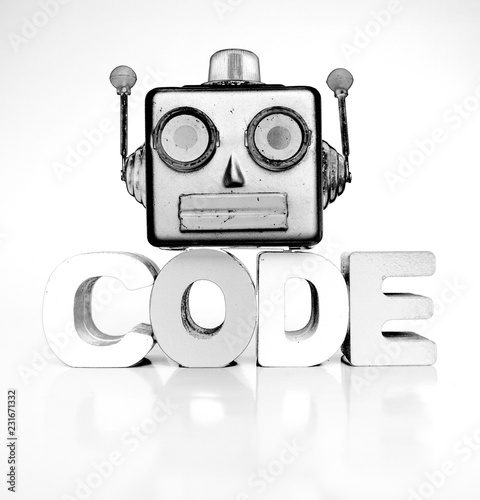 Fotografie, Obraz  monochrome robots head with the word code