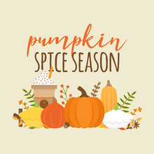 Pumpkin Spice Season Vector Graphic Illustration With Writing. Editable Card For Print Or Web. Set Of Different Types Of Pumpkin, Squash, Spice And Plant. Pumpkin Latte, Coffee In Cup.
