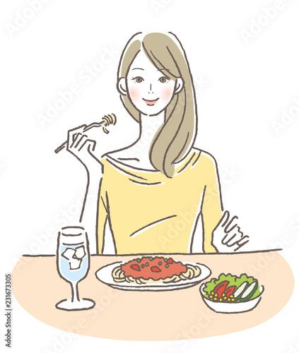 Fototapeta 食事する女性 obraz
