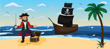 A pirate is standing at  chest with gold against the background of a pirate ship with black sails and a skull. Pirate treasure. Horizontal format. Children illustration. Used for banner, poster, wal