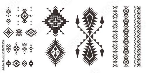 Foto auf AluDibond Boho-Stil Set of decorative Tribal elements isolated on white background.