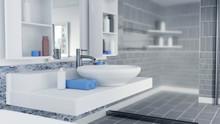 3D Rendered Bathroom Interior Design With Blue Towels