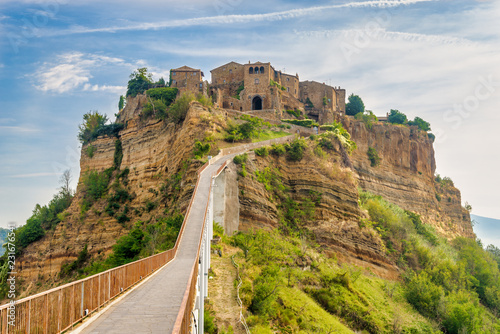 Fototapety, obrazy: View at the Civita di Bagnoregio with bridge over Tiber river valley - Italy