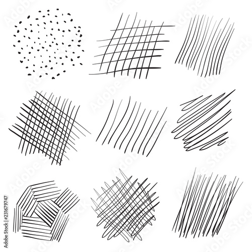 Fototapeta Backgrounds with array of lines. Intricate chaotic textures. Wavy backdrops. Hand drawn tangled patterns. Black and white illustration. Elements for posters and flyers obraz na płótnie