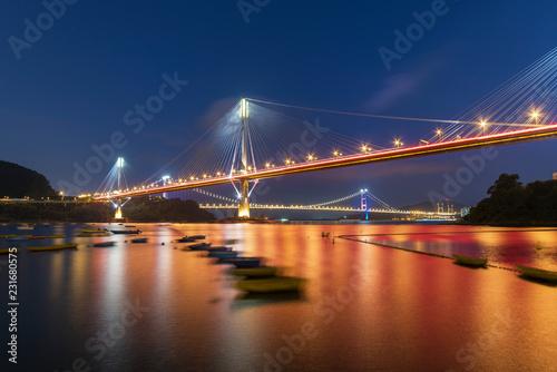 Fotografie, Obraz  Ting Kau Bridge and Tsing Ma Bridge in Hong Kong at night