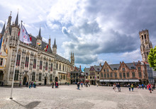 Burg Square With Town Hall, Basilica Of The Holy Blood And Belfort Tower At Background, Bruges, Belgium
