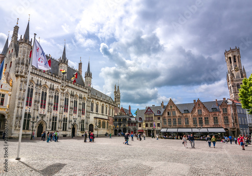 Wall Murals Bridges Burg square with Town Hall, Basilica of the Holy Blood and Belfort tower at background, Bruges, Belgium