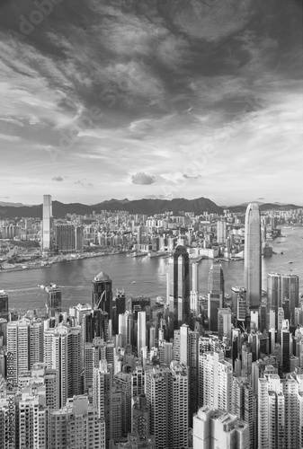 Spoed Foto op Canvas Aziatische Plekken Victoria harbor of Hong Kong city