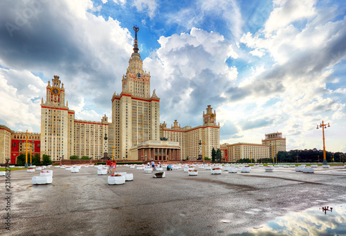 Spoed Foto op Canvas Aziatische Plekken Lomonosov Moscow State University - MSU. MSU is one of Seven Sisters. Russia