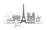 Fototapeta Fototapety Paryż - Paris sketches collection. Abstract cityscape with landmarks