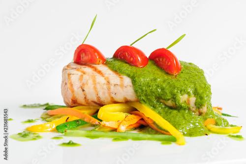 Fotografie, Obraz  roasted pork tenderloin with vegetable saute