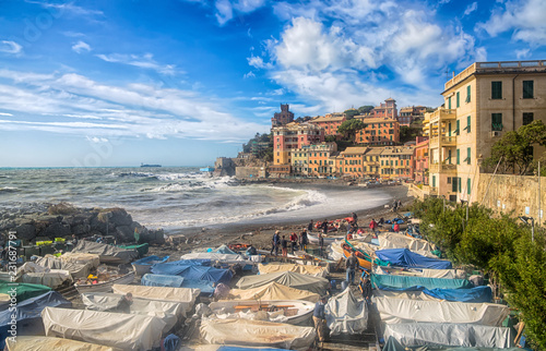 Keuken foto achterwand Stad aan het water GENOA, ITALY, OCTOBER 10, 2018 - View of Genoa Vernazzola beach in a sunny day of autumn with blue sky with clouds.