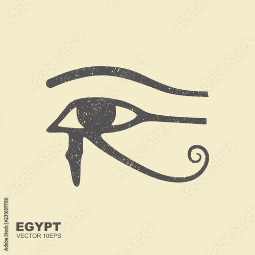 Photo The ancient Egyptian Moon sign. Vector icon with scuffed effect