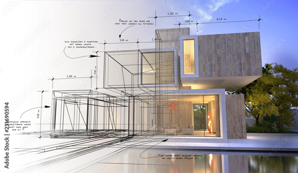 Fototapety, obrazy: Design stages of luxury villa